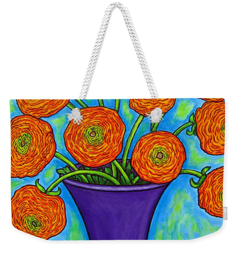 Green Weekender Tote Bag featuring the painting Radiant Ranunculus by Lisa Lorenz