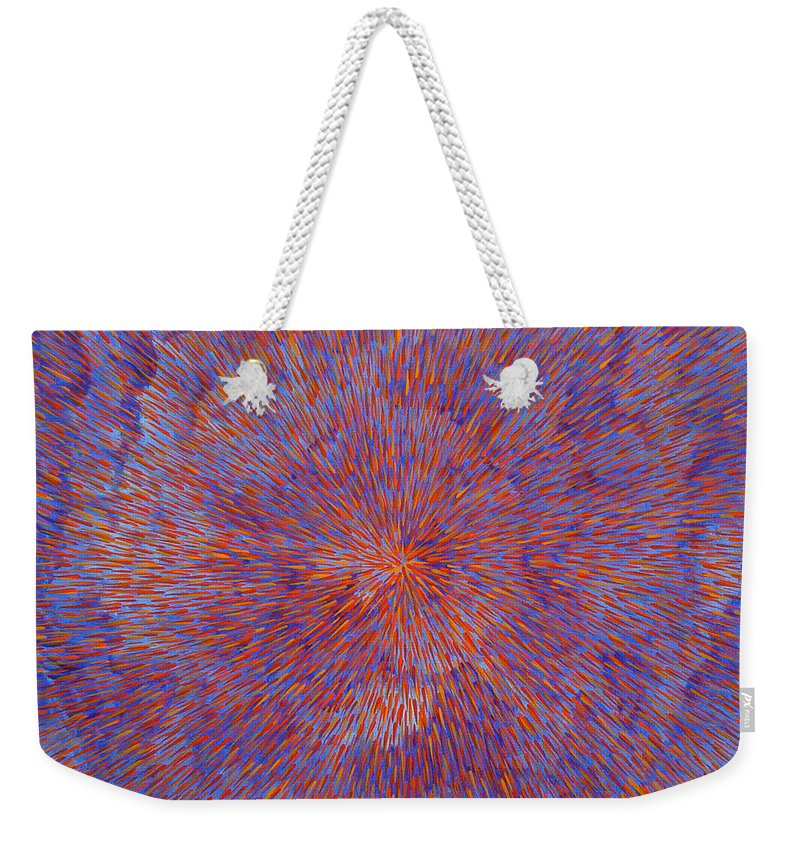 Abstract Weekender Tote Bag featuring the painting Radiation With Blue And Red by Dean Triolo