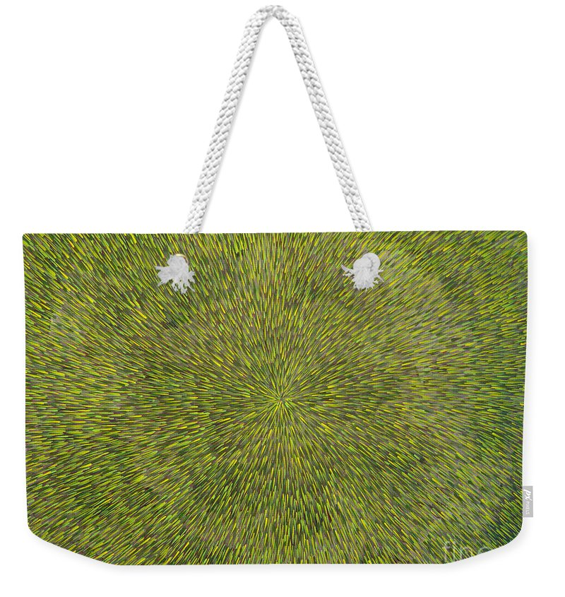 Abstract Weekender Tote Bag featuring the painting Radiation With Green With Yellow by Dean Triolo