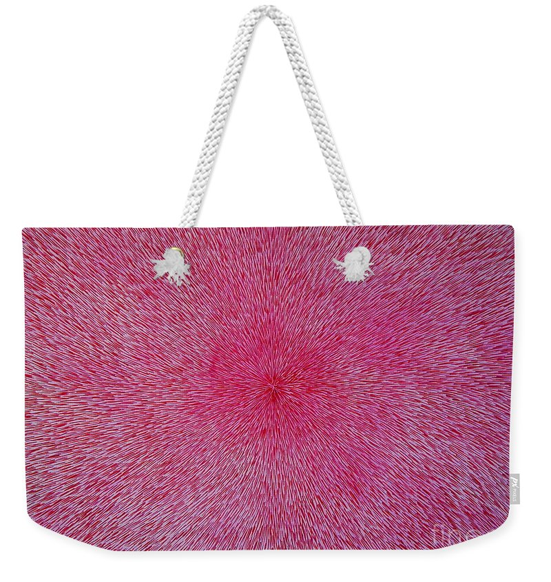 Abstract Weekender Tote Bag featuring the painting Radiation with Pink and Magenta by Dean Triolo
