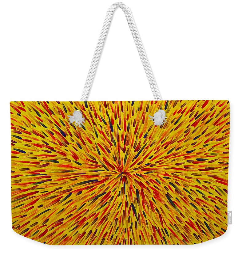 Abstract Weekender Tote Bag featuring the painting Radiation Yellow by Dean Triolo