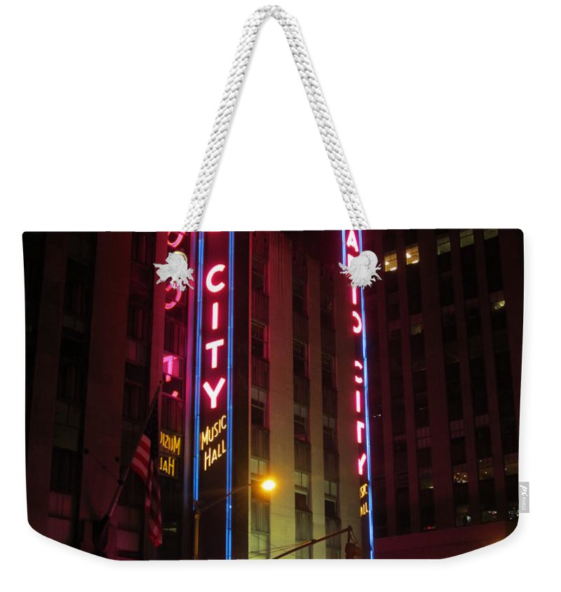 Radio City Weekender Tote Bag featuring the photograph Radio City Music Hall by Aaron Martens