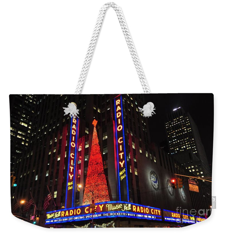 Rockefellerctr Weekender Tote Bag featuring the photograph Radio City Music Hall by Mark Gilman