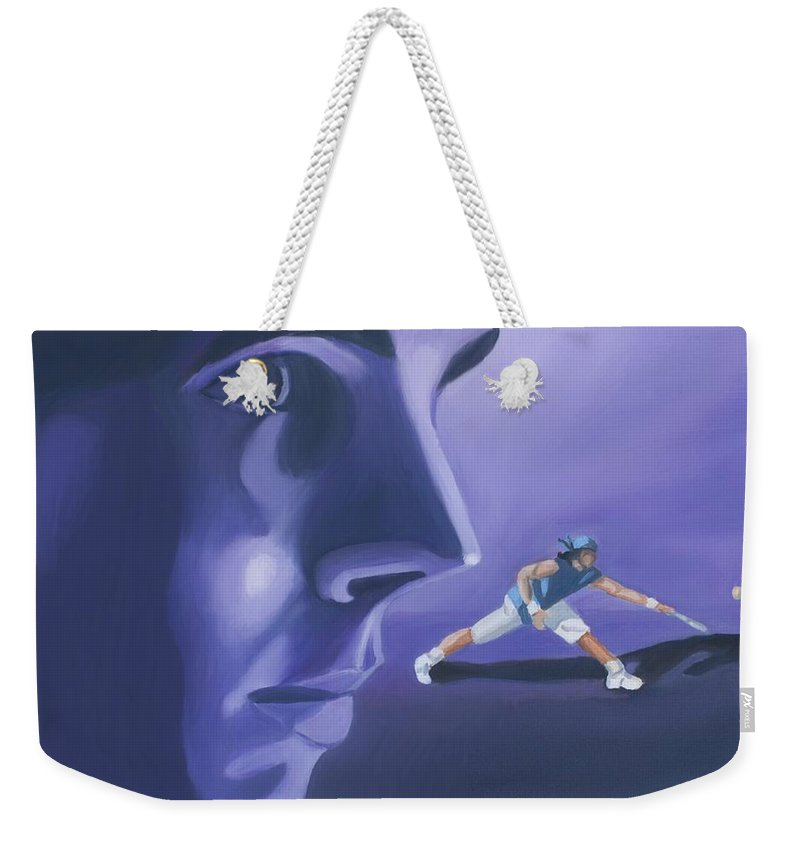 Raphael Weekender Tote Bag featuring the painting Rafael Nadal by Quwatha Valentine