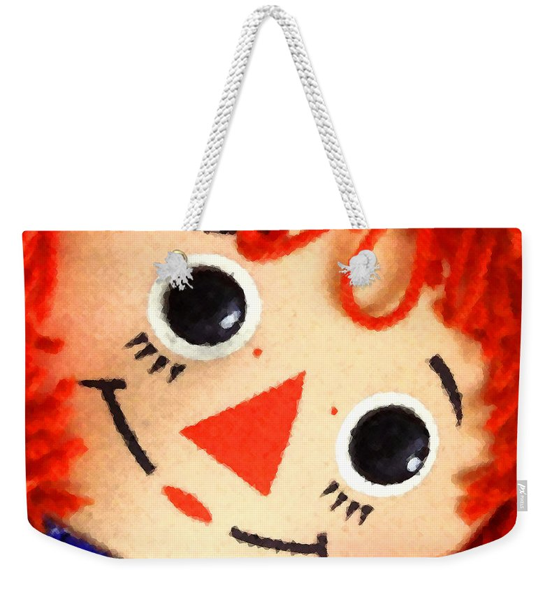 Doll Weekender Tote Bag featuring the digital art Raggedy Ann by Timothy Bulone