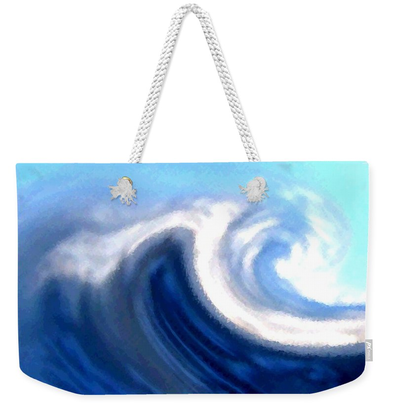 Abstract Weekender Tote Bag featuring the digital art Raging Sea by Will Borden