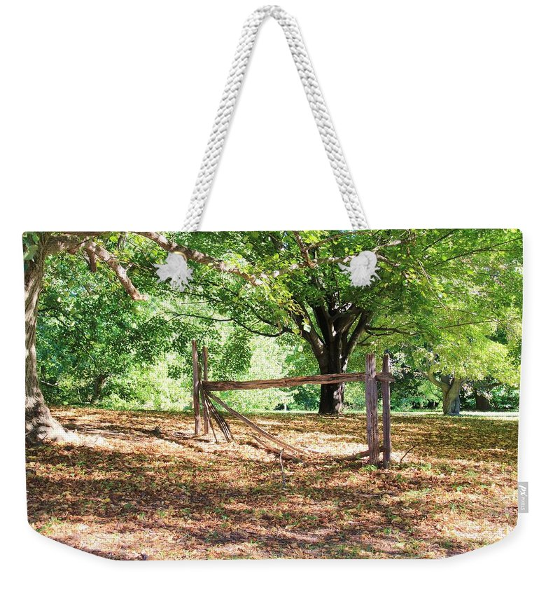 Karen Silvestri Weekender Tote Bag featuring the photograph Split Rail Section by Karen Silvestri
