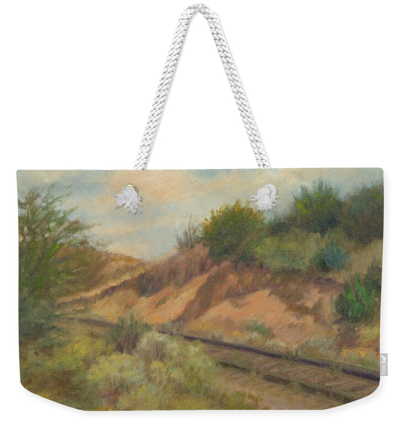 Oil Landscape Weekender Tote Bag featuring the painting Rail To Lamy by Phyllis Tarlow