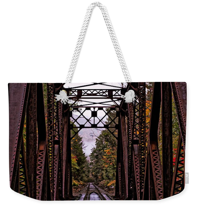 Railroad Weekender Tote Bag featuring the photograph Railroad Trestle by Sherman Perry