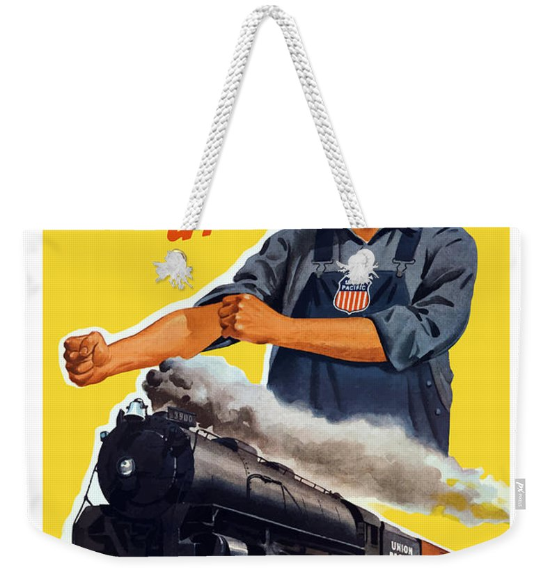 Trains Weekender Tote Bag featuring the painting Railroads Are The First Line Of Defense by War Is Hell Store