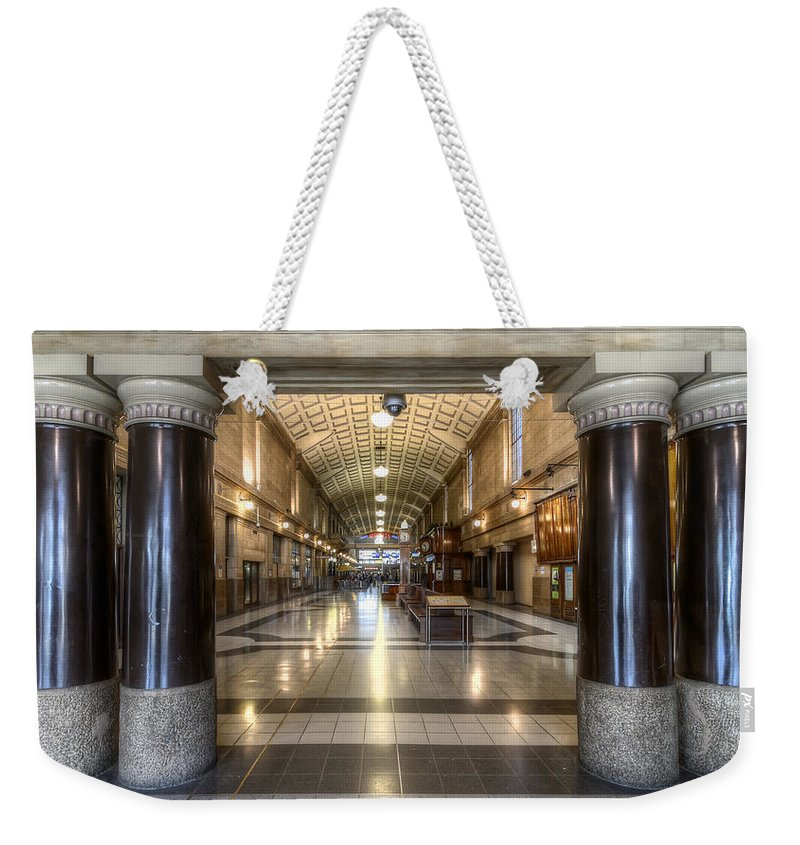 Railway Weekender Tote Bag featuring the photograph Railway Hall by Wayne Sherriff