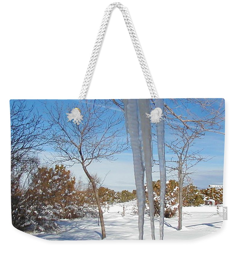 Icicle Weekender Tote Bag featuring the photograph Rain Barrel Icicle by Diana Dearen