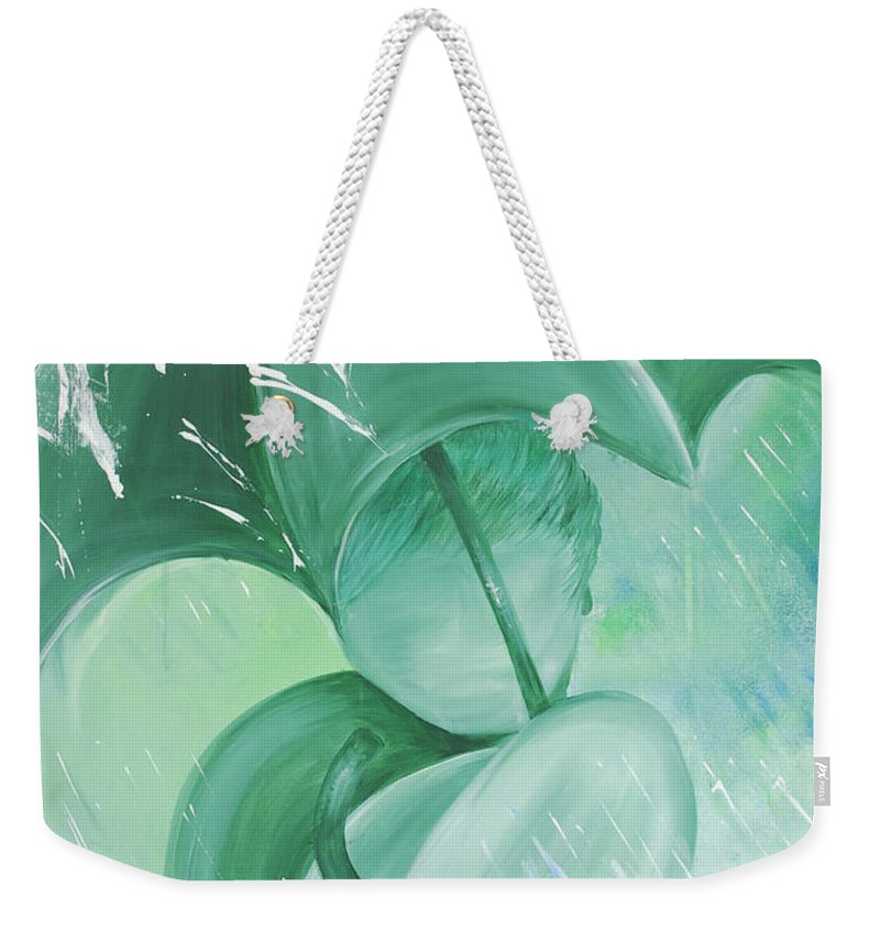 Rain Weekender Tote Bag featuring the painting Rain by Catt Kyriacou