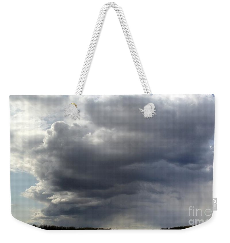 Clouds Weekender Tote Bag featuring the photograph Rain Cloud Near Miss by Ron Bissett