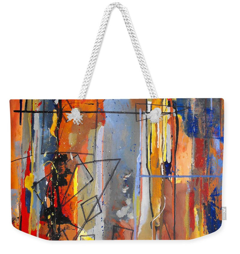 Abstract Weekender Tote Bag featuring the painting Rain Down by Ruth Palmer