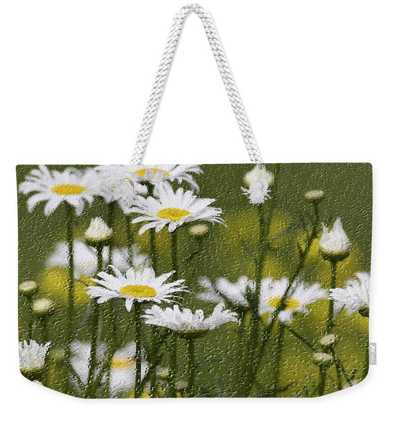 Craquelure Weekender Tote Bag featuring the photograph Rain Drops On Daisies by Deborah Benoit