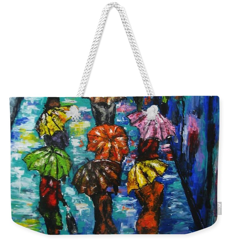 Rain Weekender Tote Bag featuring the painting Rain Fantasy Acrylic Painting by Natalja Picugina
