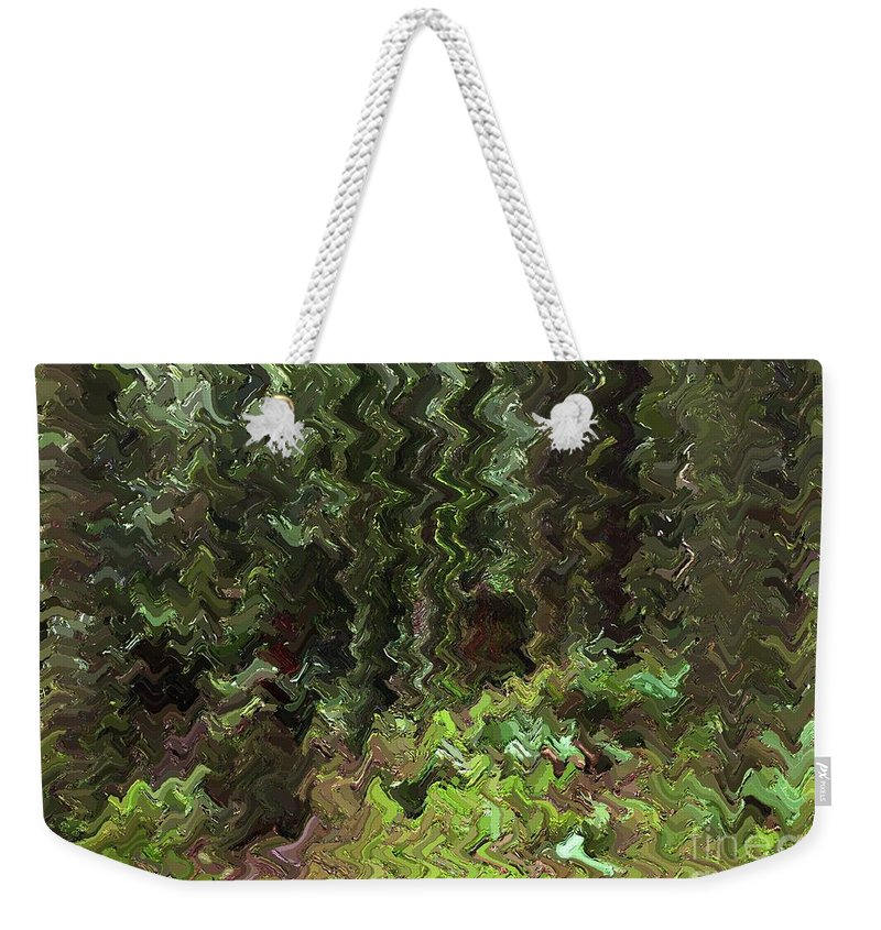 Rain Forest Weekender Tote Bag featuring the digital art Rain Forest Abstract by Sharon Talson