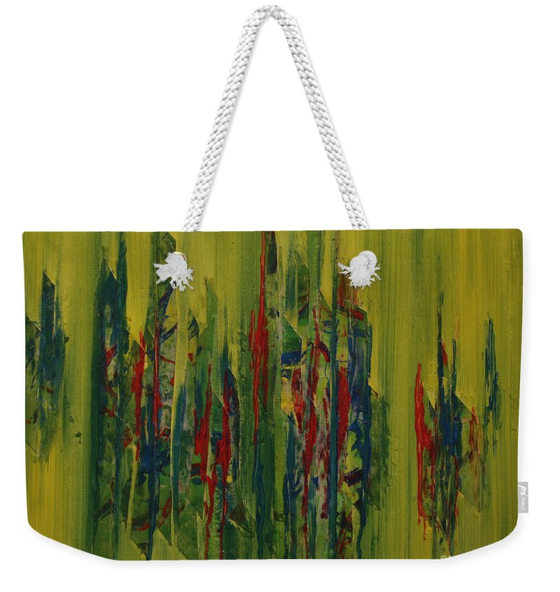 Abstract Weekender Tote Bag featuring the painting Rain Forest by Karla Britfeld