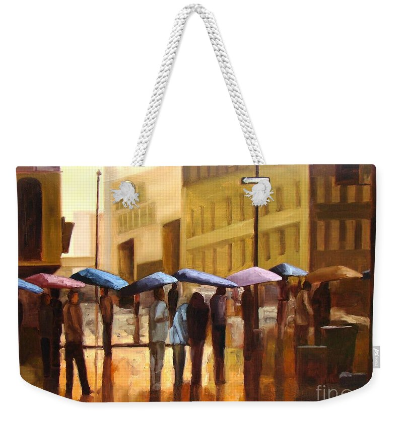 Cityscape Weekender Tote Bag featuring the painting Rain In Manhattan Number Seventeen by Tate Hamilton