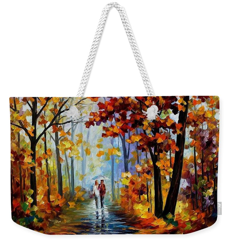 Afremov Weekender Tote Bag featuring the painting Rain In The Woods by Leonid Afremov