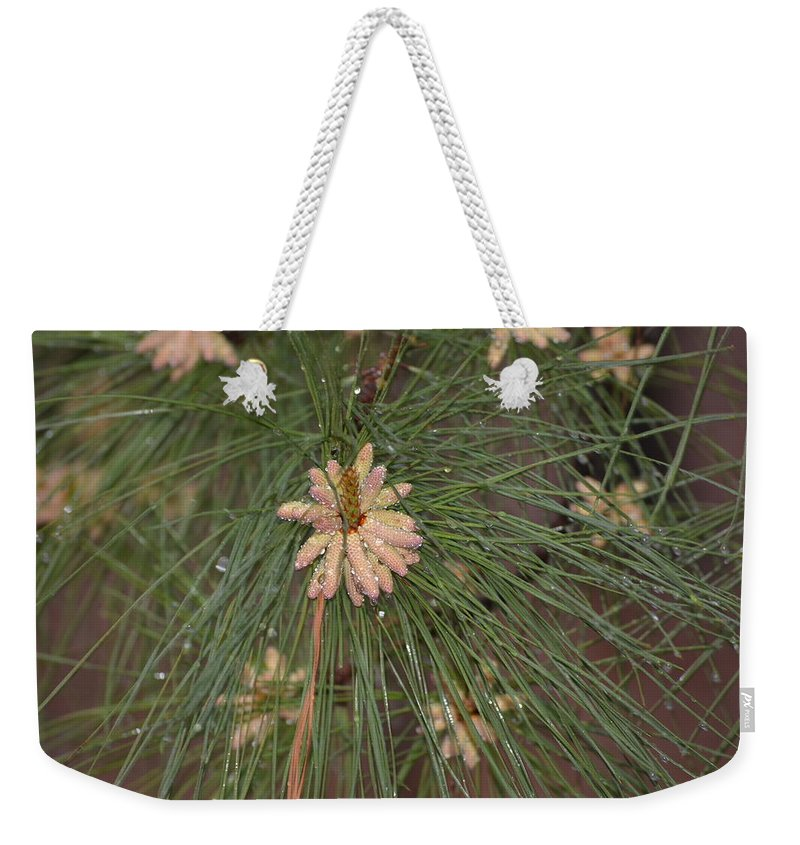 Rain Weekender Tote Bag featuring the photograph Rain N Flower by Meg M