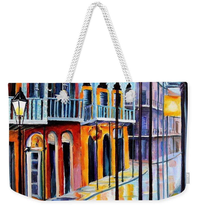 New Orleans Weekender Tote Bag featuring the painting Rain On Royal Street by Diane Millsap