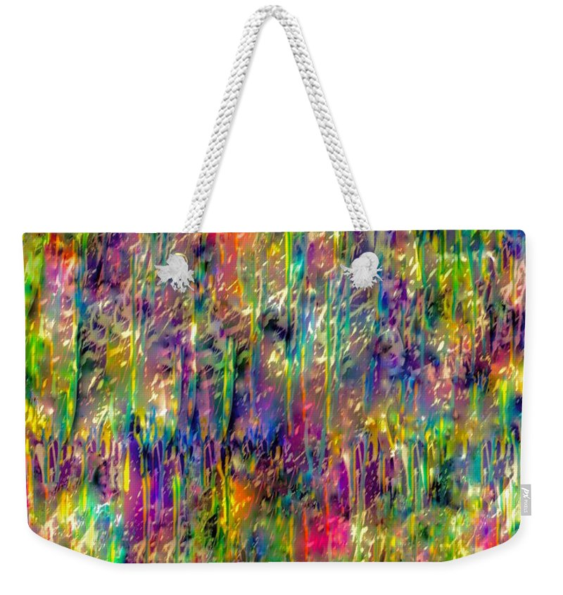 Abstract Painting Weekender Tote Bag featuring the mixed media Rain On The Poppy Field by Catalina Walker