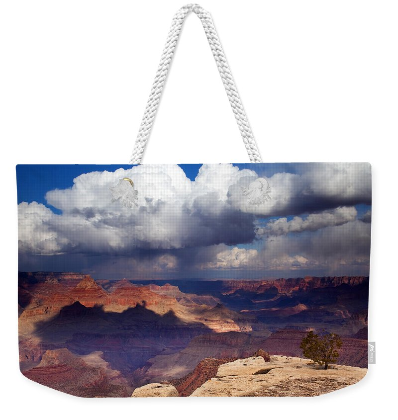 Grand Canyon Weekender Tote Bag featuring the photograph Rain Over The Grand Canyon by Mike Dawson