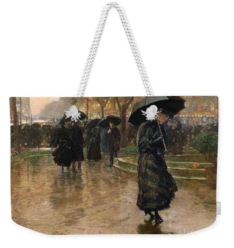 Rain Storm Weekender Tote Bag featuring the painting Rain Storm Union Square by Childe Hassam