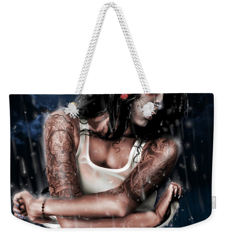 Pete Weekender Tote Bag featuring the painting Rain When I Die by Pete Tapang