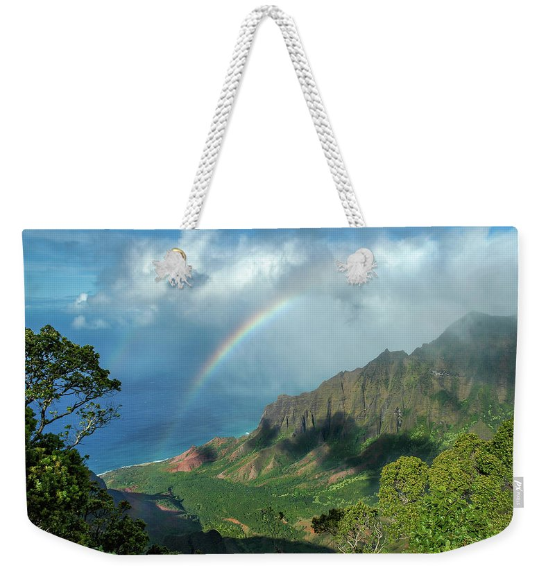 Landscape Weekender Tote Bag featuring the photograph Rainbow At Kalalau Valley by James Eddy