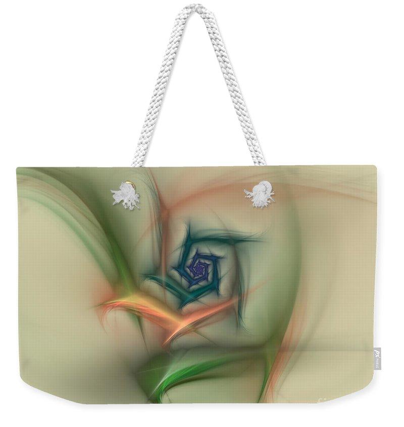 Apophysis Weekender Tote Bag featuring the digital art Rainbow Basic Flower by Deborah Benoit