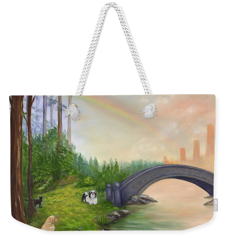 Pet Remembrance Weekender Tote Bag featuring the painting Rainbow Bridge by Anne Kushnick
