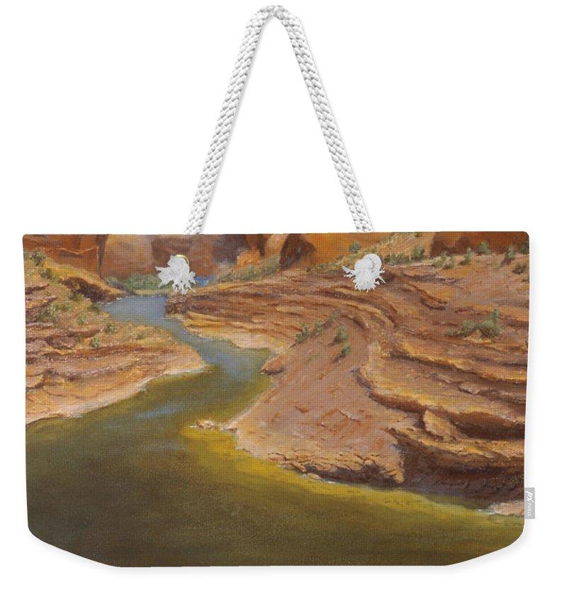 Rainbow Bridge Weekender Tote Bag featuring the painting Rainbow Bridge by Jerry McElroy