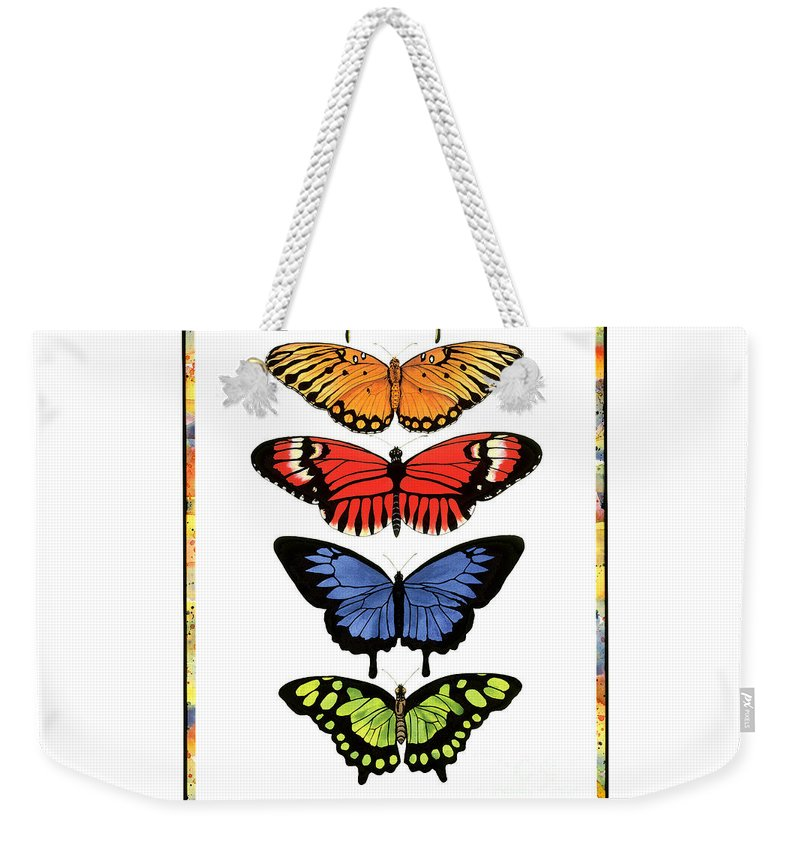 Butterflies Weekender Tote Bag featuring the painting Rainbow Butterflies by Lucy Arnold