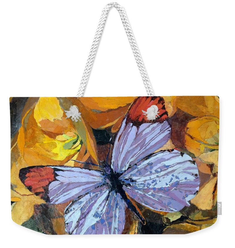 Butterfly Weekender Tote Bag featuring the painting Rainbow Butterfly, For Matisse by Leah Tomaino