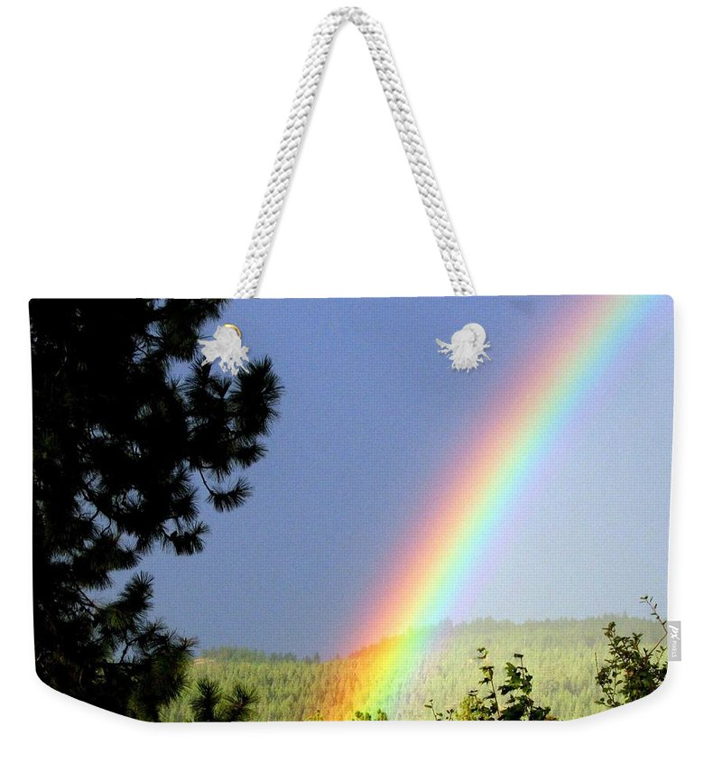 Rainbow Weekender Tote Bag featuring the photograph Rainbow Covenant by Will Borden