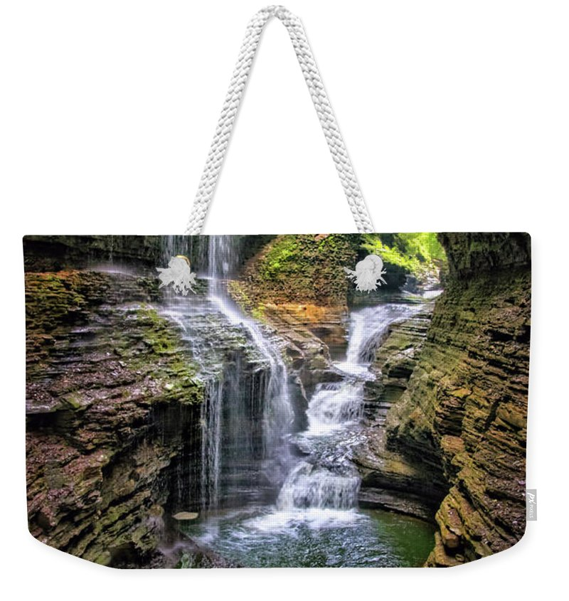 Rainbow Falls In Watkins Glen Weekender Tote Bag featuring the photograph Rainbow Falls In Watkins Glen by Carolyn Derstine