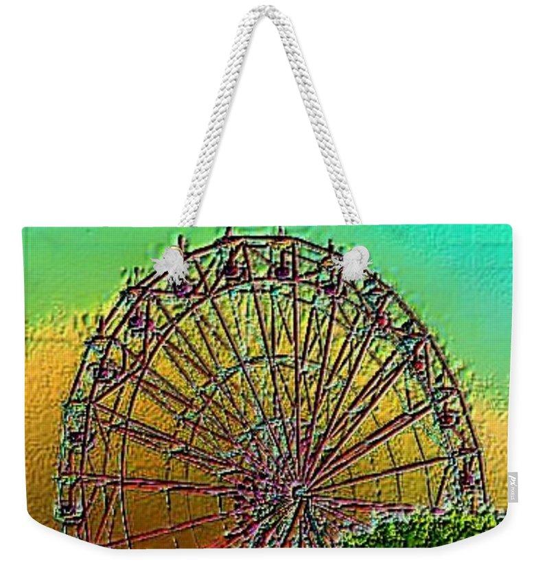 Rainbow Weekender Tote Bag featuring the photograph Rainbow Ferris Wheel by Tim Allen