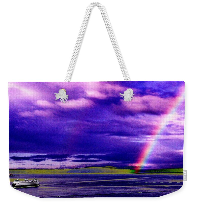 Seattle Weekender Tote Bag featuring the photograph Rainbow Ferry by Tim Allen