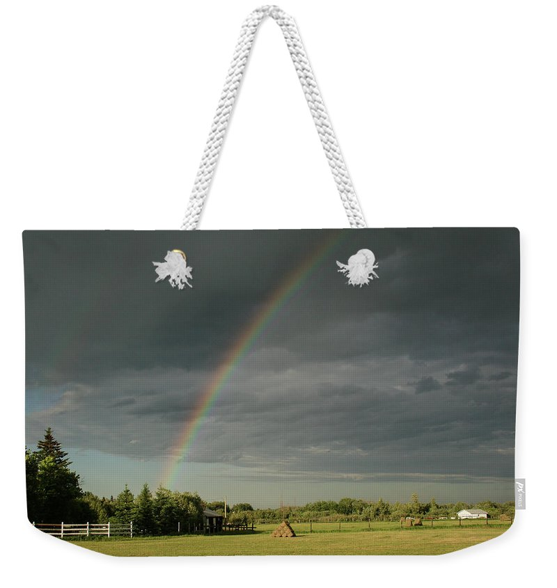 Landscapes Farm Weekender Tote Bag featuring the photograph Rainbow Field by Shelly Priest