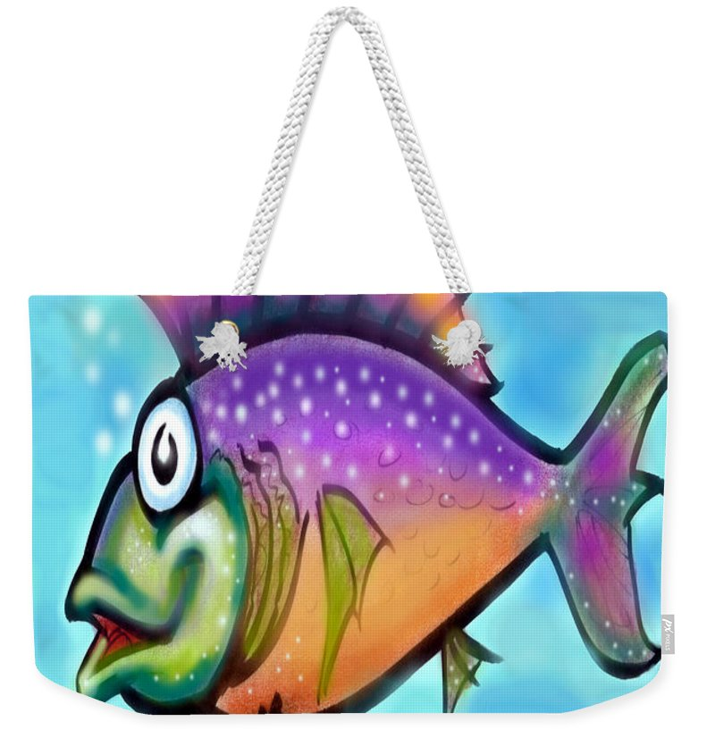Fish Weekender Tote Bag featuring the greeting card Rainbow Fish by Kevin Middleton