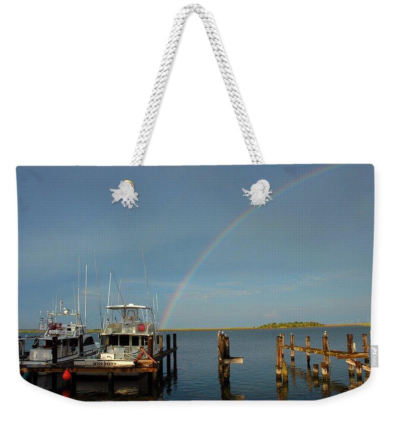 Rainbow Weekender Tote Bag featuring the photograph Rainbow In Apalachicola Fl by Susanne Van Hulst