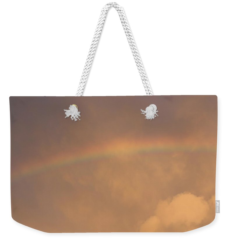 Rainbow Weekender Tote Bag featuring the photograph Rainbow In Clouds by Donna Walsh