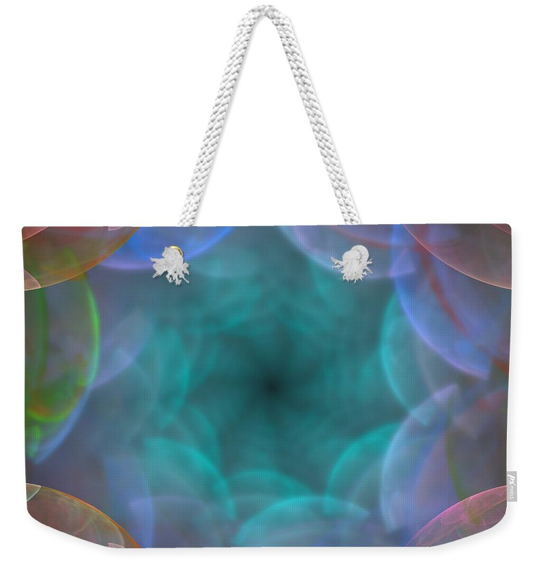 Abstract; Blurred; Cloudy; Rainbow; Iridescent; Background; Square; Soft; Spiritual; Astral; Romance; Transformation; Religious; Extraterrestrial; Pastel; Angel; Fantasy; Door; Space; 3d; Render; Illustration; Fractal; Chaos; Geometry; Digital; Spiral; Afterlife; Instant Death; Weekender Tote Bag featuring the digital art Rainbow Of Hope by Lenka Rottova