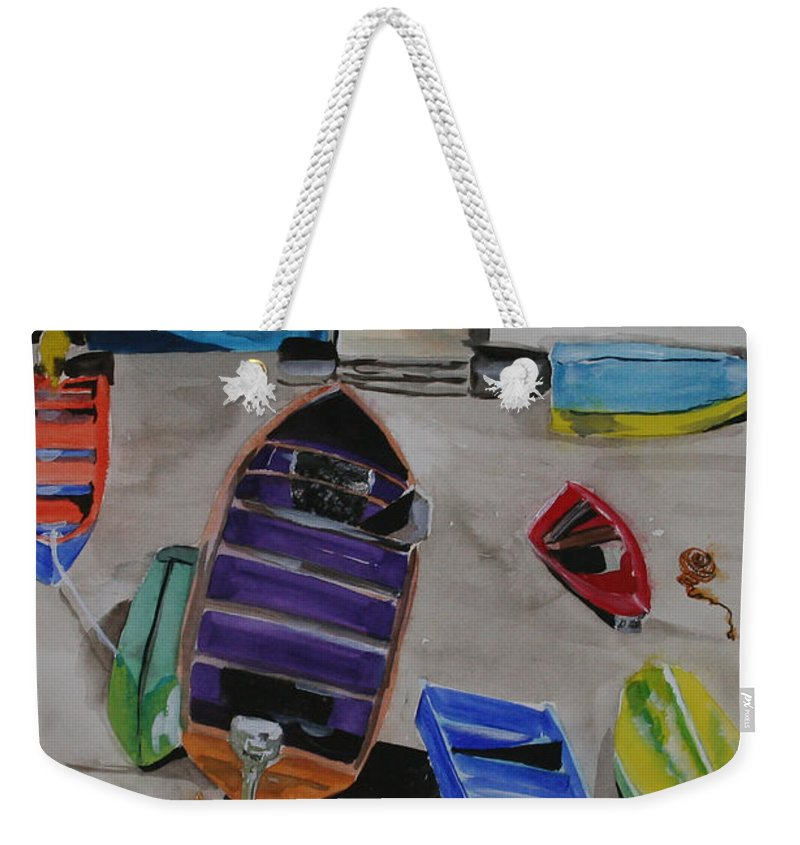 Boats Weekender Tote Bag featuring the painting Rainbow On The Dock by Jean Blackmer
