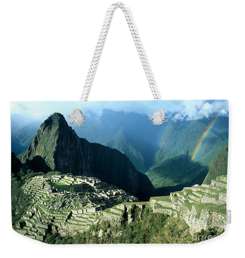 Machu Picchu Weekender Tote Bag featuring the photograph Rainbow Over Machu Picchu by James Brunker