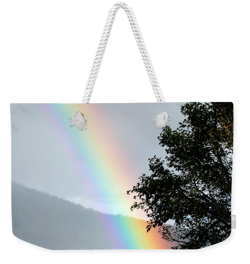Color Weekender Tote Bag featuring the photograph Rainbow Over Odell by Randall Ingalls