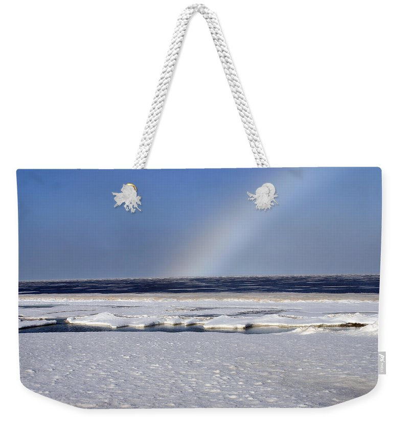 Rainbow Weekender Tote Bag featuring the photograph Rainbow Over The Arctic by Anthony Jones
